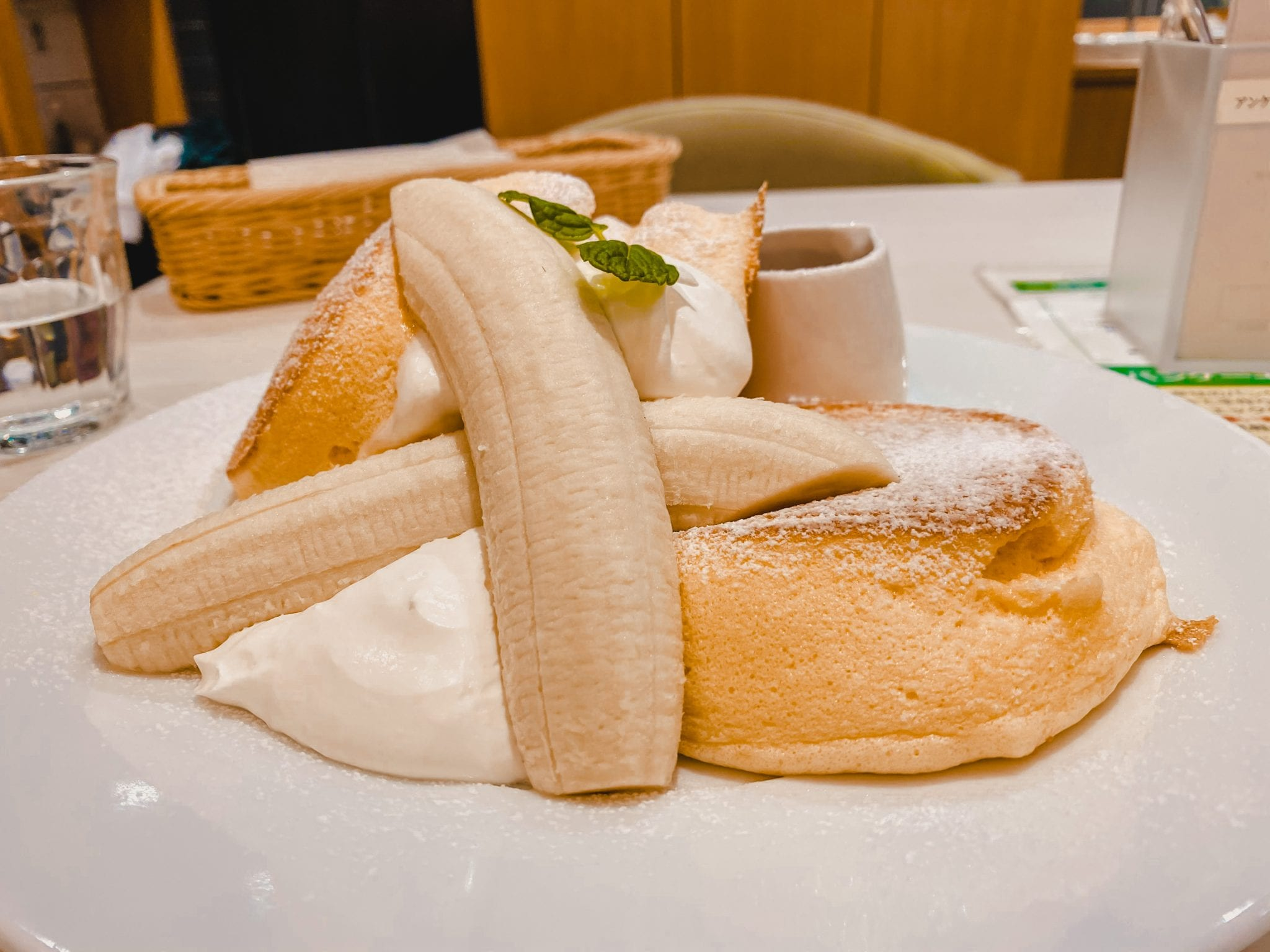 fluffy banana pancakes in Japan