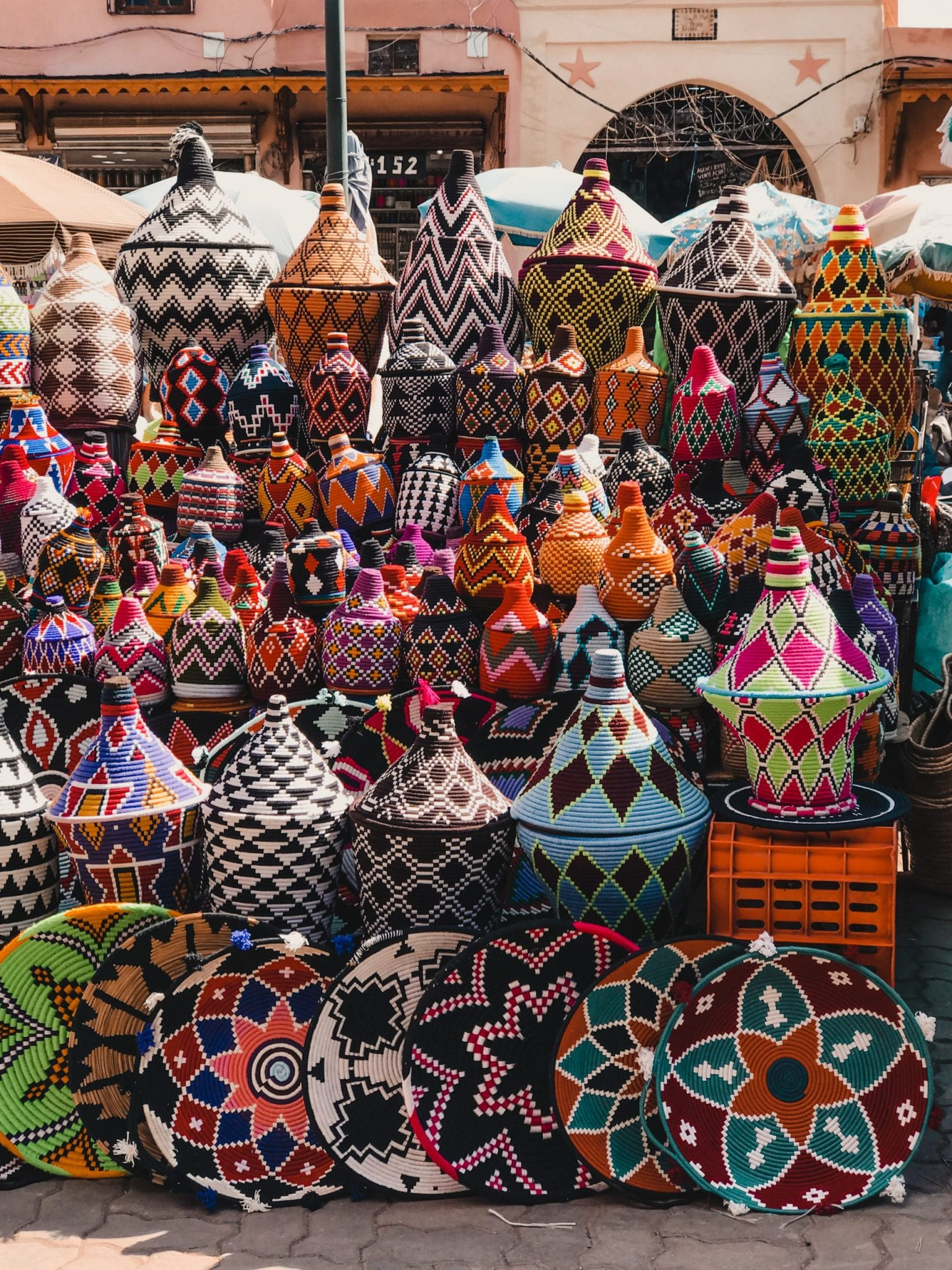Woven baskets in outdoor market Morocco