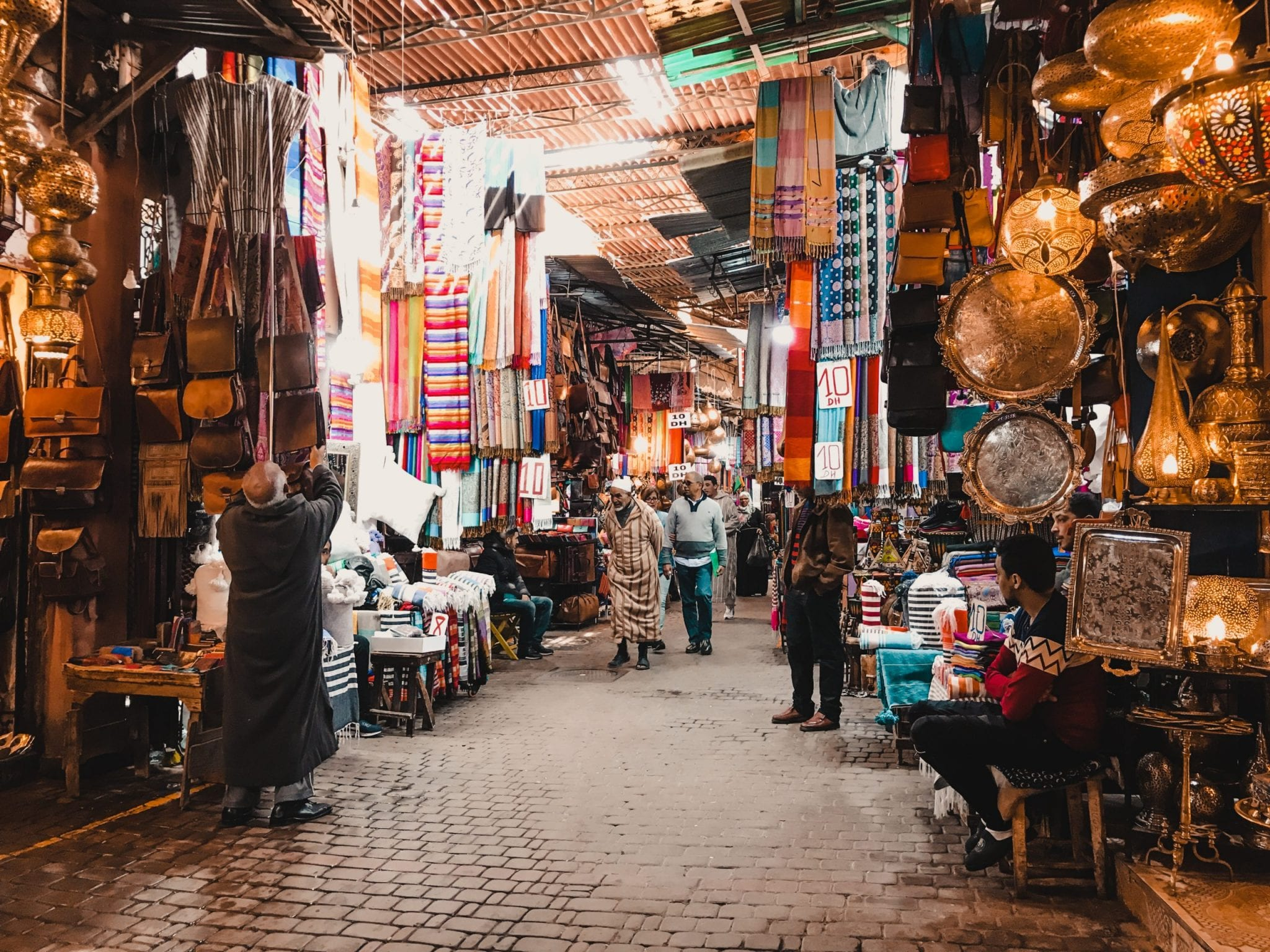 Colourful covered markets in Marrakech Morocco