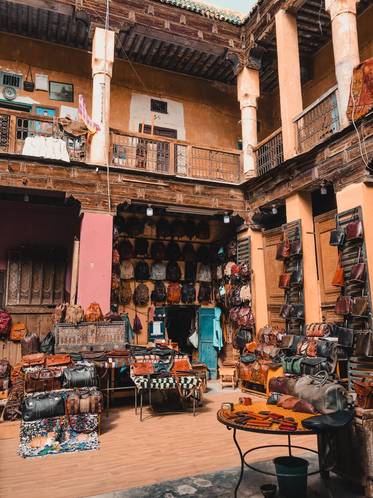Open courtyard with leather shop in Marrakech Morocco