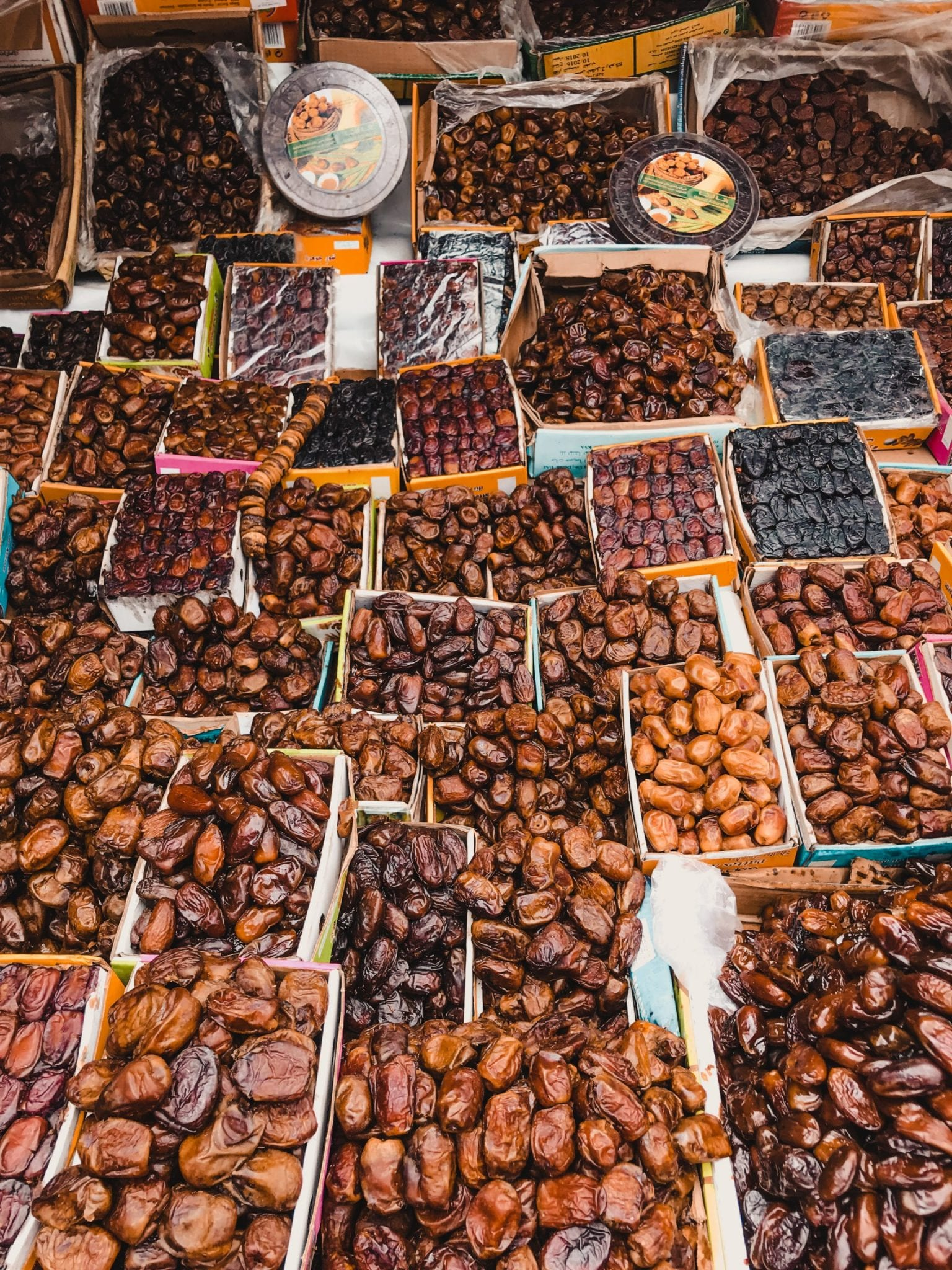 Boxes of dates in the Markets Morocco